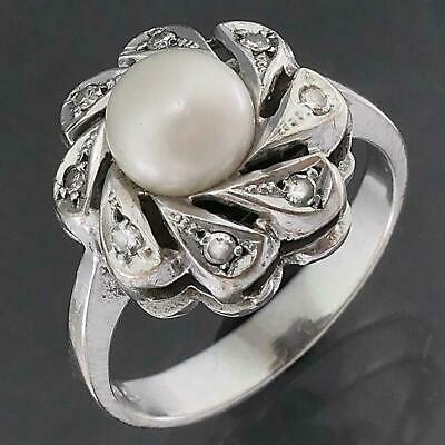 AU445 • Buy High Set Floral Solid 14k White GOLD PEARL & 8 Diamond CLUSTER RING Sz O1/2