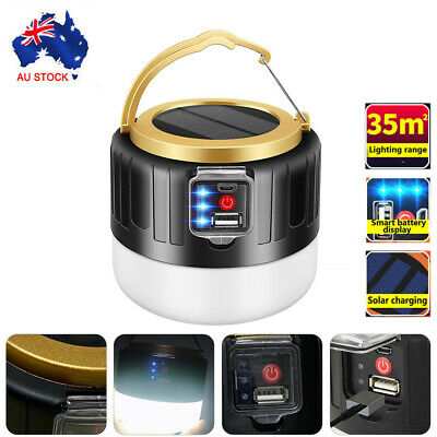 AU19.68 • Buy LED Solar Light Remote USB Rechargeable Charger Tent Camping Emergency Outdoor