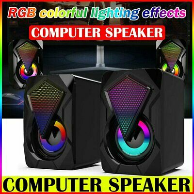 £9.89 • Buy Surround Sound System LED PC Speakers Gaming Bass USB Wired Desktop Computer UK