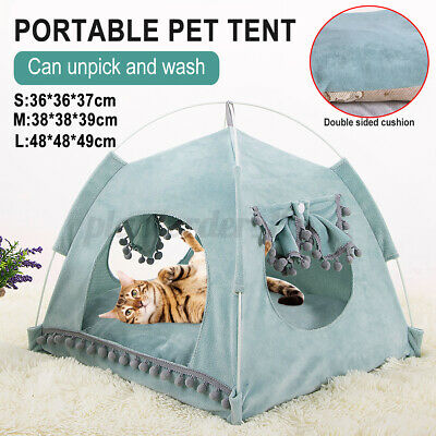 £13.29 • Buy Portable Pet Teepee Tent Soft Cat Dog Fluffy Bed House Puppy Cushion Pad Kennel