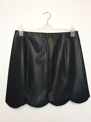 £14.99 • Buy Oasis Scallop Hem Faux Leather Black Skirt Size 12 NWT RRP £36