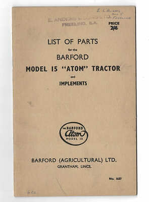 AU10 • Buy Orig C.1950's Barford Model 15 Atom Tractor & Implements List Of Parts Catalogue