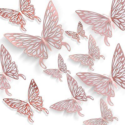 AU4.99 • Buy 12 Pcs 3D Butterfly Wall Stickers Room DIY Decal Removable Art Decorations