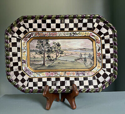 $76 • Buy Retired Mackenzie Childs 1991 Maclachlan Courtly Check Pottery Plate Tray