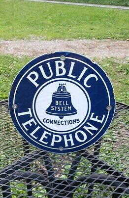 $ CDN39.02 • Buy PUBLIC TELEPHONE BELL SYSTEM Porcelain Metal Sign Pay Phone Booth Man Cave