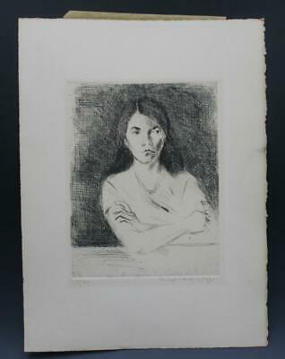 £28.66 • Buy Signed Vintage Portrait Drypoint Etching Print Of A Woman By Raphael Soyer
