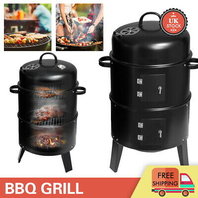 £38.99 • Buy 3 In 1 Charcoal Barbecue Smoker Outdoor Garden BBQ Grill With Temperature Gauge