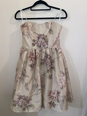 AU10 • Buy Forever New   Strapless Nude Floral Dress   Size 8