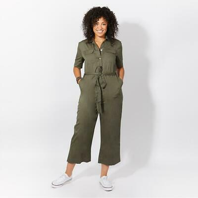 £19.99 • Buy Women Wide Leg Khaki Jumpsuit Overall Utility Relaxed Summer Boiler Suit Army