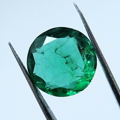 £0.01 • Buy Natural 12.50 Ct Round Cut Colombian Emerald Loose Gemstone