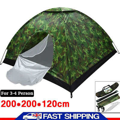 £17.99 • Buy Outdoor Camouflage Camping Tent Foldable Quick Shelter Hiking For 3-4 Persons UK