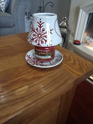 £8.50 • Buy Yankee Candle Small Shade And Tray Snowflake Design Immaculate Condition