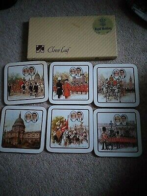 £5 • Buy Clover Leaf Boxed Set Of Commemorative Coasters- Charles & Diana Wedding