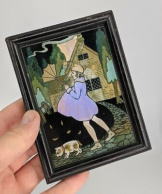 AU186.84 • Buy Superb Art Deco Butterfly Wing Picture - Girl & Dog In The Wind 1920s Antique