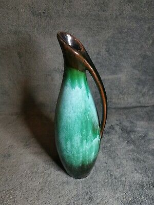 $ CDN9.50 • Buy Slim BMP (Blue Mountain) Canada Pottery Jug Vase Turquoise And Brown Glaze 1950s