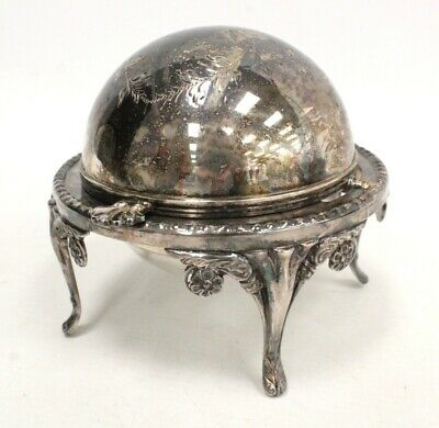 £31.59 • Buy Vintage Silver Plated CAVIAR/BUTTER DISH Revolving Lid - B14