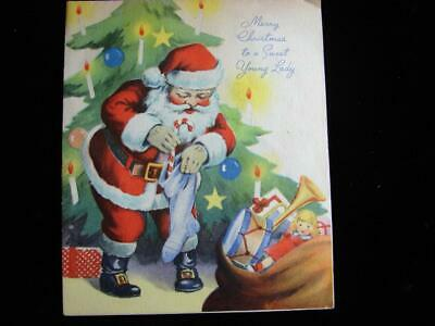 $ CDN1.25 • Buy Vintage  Santa For A Sweet Young Lady!!  Christmas Greeting Card