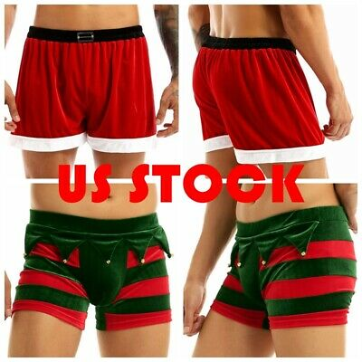 $4.74 • Buy Men Christmas Boxer Shorts Santa Claus Costume Holiday Flannel Trunks Underwear