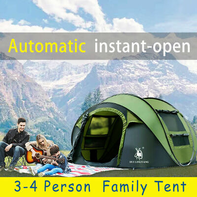 AU128.99 • Buy Large Family Camping Tent Tents Portable Outdoor Hiking Beach 3-4 Person Shelter