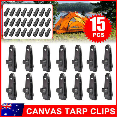 £9.95 • Buy 15 PCS Awning Tarp Clips Set Tent Clamp Buckle Heavy Duty Camping Tool Black