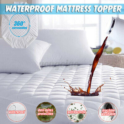£10.99 • Buy Mattress Protector Topper Pad Waterproof Bed Cover Hypoallergenic Against Dust