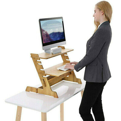 £3.77 • Buy Eco-friendly Bamboo Computer Laptop Riser Desk Table Stand 2Tier Storage Shelves