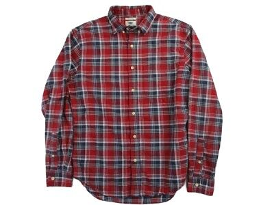 $16.95 • Buy Old Navy Mens Size M Medium Slim Fit Red Plaid Flannel Long Sleeve Casual Shirt