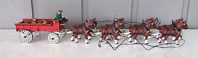 $ CDN187.57 • Buy Collectible Budweiser Cast Iron Beer Wagon & Clydesdale Horses Kegs, Dog, Driver