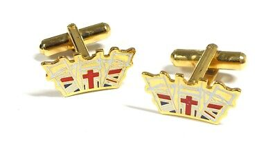 £3.49 • Buy SCARBOROUGH WHITBY FILEY YELLOW TONE Union Jack Crown Cufflinks - L05