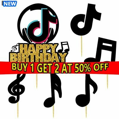 £3.99 • Buy 21pcs Tiktok Logo Musical Note Cake Topper Birthday Party Decorations Supplies