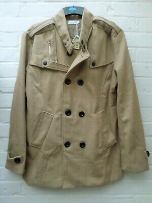 $17.19 • Buy Mens Coat Jacket Military Style Double Breasted Tan Brown Camel Large