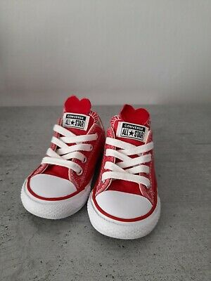 £5 • Buy Red Glitter Lace Up Heart Converse Infant Size 5