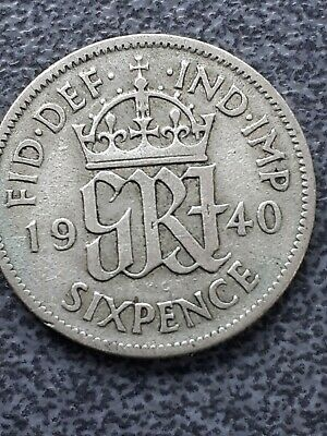 £0.99 • Buy 1940  George VI  Silver Sixpence -