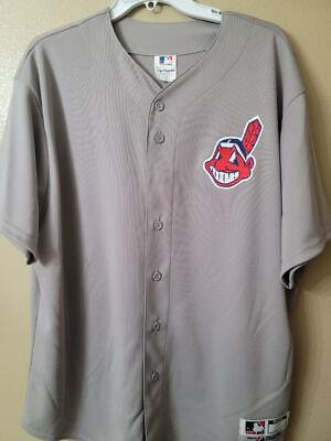 $17.99 • Buy 1723 Mens Majestic CLEVELAND INDIANS Full Button Down Jersey GRAY NWT