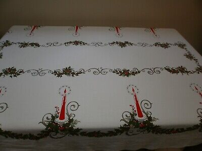 $ CDN3.76 • Buy Vintage Christmas Tablecloth Red Candles Holly Berries Spray Cotton 59 X 94