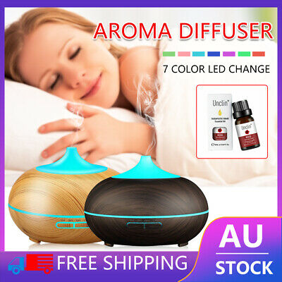 AU6.53 • Buy Air Diffuser LED Aroma Aromatherapy RoseEssential Oil Ultrasonic Humidifier Wood