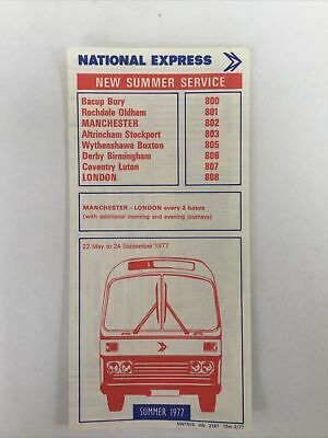 £1 • Buy National Express Coach Timetable Manchester-London Summer 1977