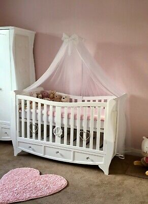 £140 • Buy Bespoke White Hand-carved Luxury Baby Cot Bed Built In Drawer. USED Condition