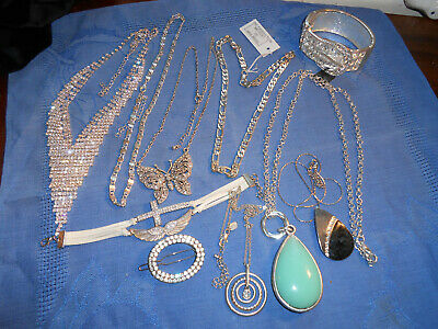 £5 • Buy Job Lot Modern Diamante And Silvertone Jewellery Pendants Chains Necklaces