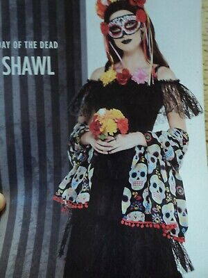 $ CDN8.81 • Buy Day Of The Dead Shawl For Halloween Costume. One Size.