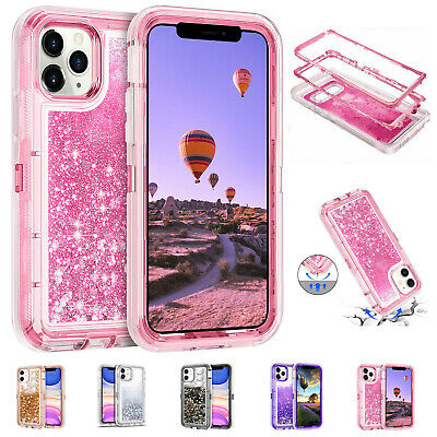 AU17.46 • Buy For IPhone 11 12 Pro Max 6S 7 8 X XS XR SE Glitter Liquid Bling Clear Case Cover