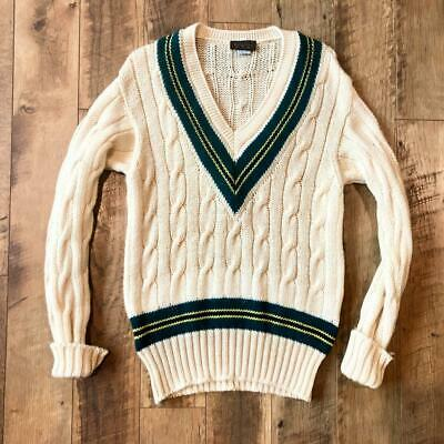 $33.38 • Buy VTG 80s/90s Cream Roots Cable Knit Tennis Cricket V Neck WOOL Sweater M