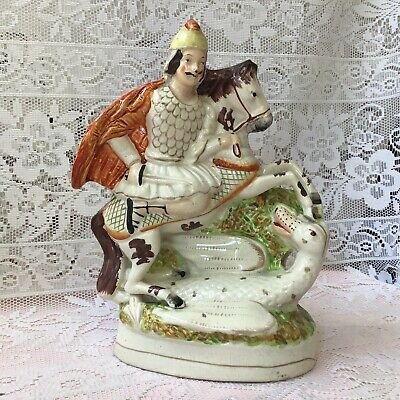 £95 • Buy Rare Early Staffordshire Pottery Flat Back Figure Saint George & The Dragon Vgc