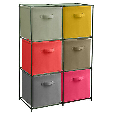 £16.99 • Buy 6 X Coloured Woven Baskets Cube Storage Boxes Wardrobe Underbed Clothes Kids Toy