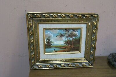 $ CDN75.53 • Buy Vintage Artist Signed Cantrell Oil On Board By The Lake Painting Framed 5  X 7