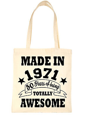 £5.95 • Buy Print4U Shopping Tote Bag For Life Born In 1971 50th Birthday Natural