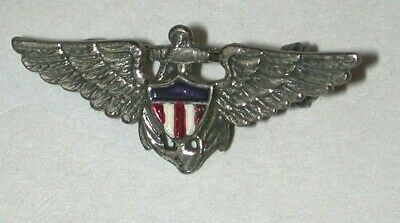 $24 • Buy WWII Sterling Silver Pin Navy Pilot Anchor Wings Enamel Shield Vtg US Military
