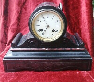 £145 • Buy Late 19th C Slate Drum Head Mantle Clock Japy Frere & Co
