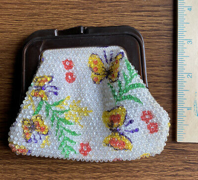 $5 • Buy Adorable Smalll Vintage FLower Butterfly Coin Change Purse