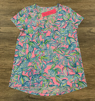 $45 • Buy NWT Lilly Pulitzer Etta V-Neck Top Pelican Pink Off The Scales Sz Medium FreeShp